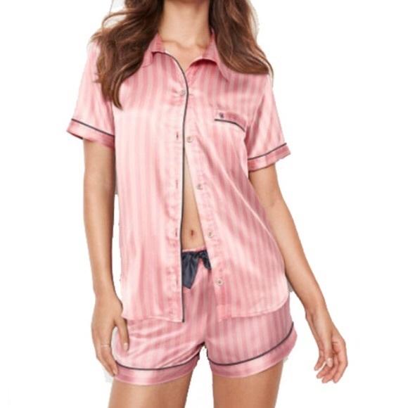 9dd6b50cb59 VS The AfterHours Pink Satin Boxer Pajama Set